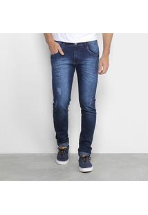 Calça Jeans Skinny Coffee Estonada Puídos Masculina - Masculino-Azul
