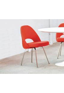 Cadeira Saarinen Executive (Sem Braços) Tecido Sintético Branco Soft D006
