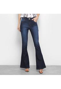 Calça Jeans Flare Zune Estonada Cintura Baixa Feminina - Feminino-Azul