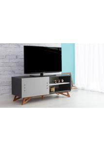 Rack Para Tv Preto Moderno Vintage Retrô Com Porta De Correr Cinza Freddie - 120X43,6X48,5 Cm