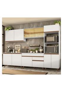 Armário De Cozinha Completa Madesa Reims 310001 Com Balcão E Tampo Branco Branco