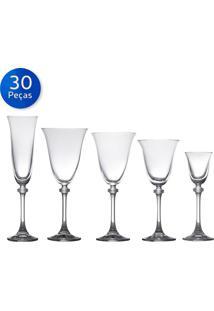 Jogo 30 Taças De Cristal Alexandra Asio-Bohemia - Transparente