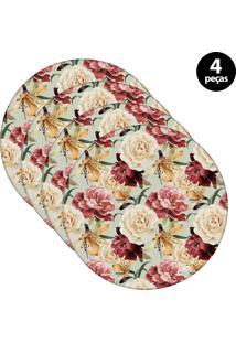 Capa Para Sousplat Mdecore Floral Verde 4Pçs