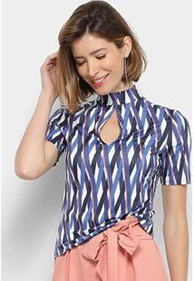 Blusa Enna Estampada Decote Gota Gola Alta Feminina - Feminino-Azul
