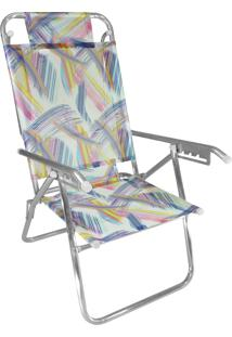 Cadeira Praia Reclinável Zaka Infinita Up Alumínio Até 100 Kg Aquarela