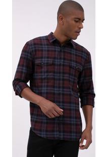 Camisa Comfort Em Sarja Xadrez