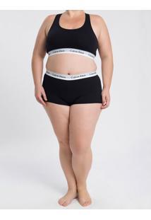 Calcinha Plus Size Boyshort Básica Ck One Preta Underwear Calvin Klein - 2Xl
