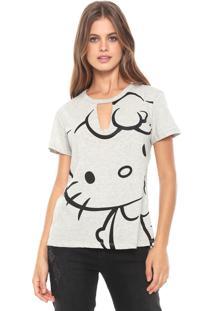 Blusa Cativa Hello Kitty Recorte Cinza