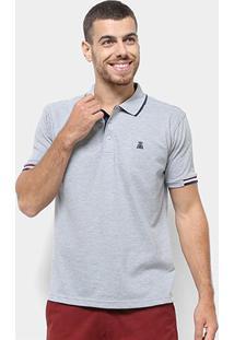 Camisa Polo Broken Rules Detalhe Listrado Masculina - Masculino-Cinza Claro