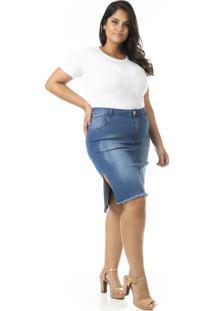 Saia Midi Jeans Com Fenda Lateral Plus Size - Confidencial Extra - Tricae