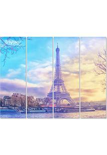 Placa Painel Decorativa Em Mdf Foto Paris Kit 4 Placas