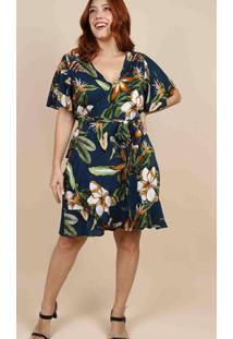 Vestido Curto Almaria Plus Size Peri Estampado Azu