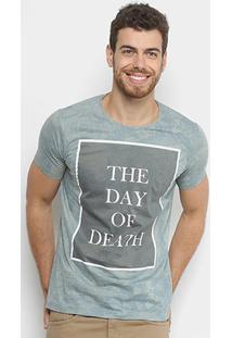 Camiseta Sideway Estampada Caveiras Manga Curta Masculina - Masculino