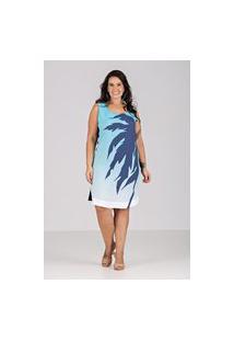 Vestido Plano Com Moletinho Talento - Plus Size Azul