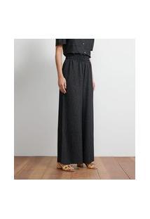 Calça Pantalona Em Crepe Com Cós Elástico   Atelier   Preto   G