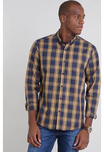 Camisa Masculina Comfort Estampada Xadrez Manga Longa Azul Marinho