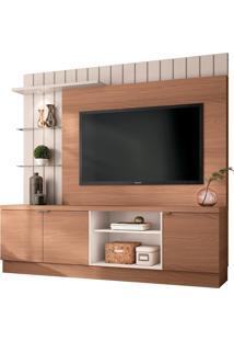 Painel Home Theater Para Tv Até 60 Sala De Estar Khaled Nature/Off White - Gran Belo