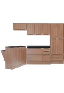 Cozinha Completa Com Bancada E Balcão Com Tampo E Rodapés 8 Peças 13 Portas Calábria Multimóveis Nogueira