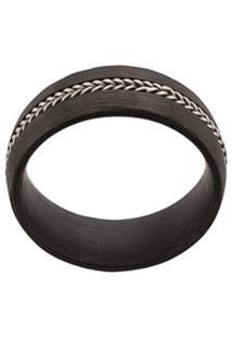 Nialaya Jewelry Anel Com Aplicação De Corrente - Preto