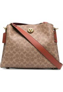 Coach Monogram Leather Shoulder Bag - Marrom