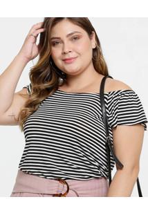 Blusa Feminina Ombro A Ombro Listrada Plus Size