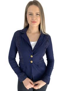 Blazer Aero Jeans Alfaiataria Azul Marinho