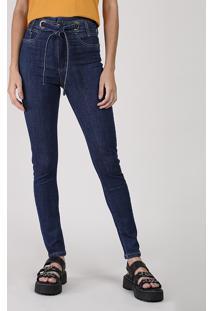 Calça Jeans Feminina Sawary Super Skinny Cintura Super Alta Com Amarração Azul Escuro
