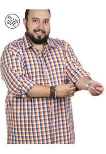 Camisa Plus Size Bigshirts Manga Longa Xadrez Azul/Laranja