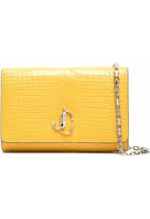 Jimmy Choo Varenne Crocodile-Effect Clutch Bag - Amarelo