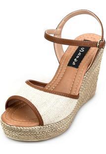 Sandália Anabela Love Shoes Alta Espadrille Tira Juta Caramelo