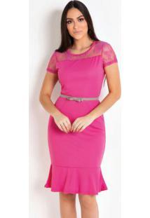 469b31de1 ... Vestido Pink Com Renda E Babado Moda Evangélica