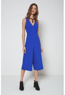 Macacão Oh,Boy! Transpasse Amarração Feminino - Feminino-Azul Royal