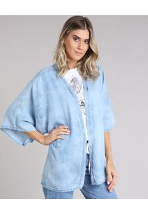 Kimono Jeans Feminino Amplo Manga Curta Azul Claro - Único