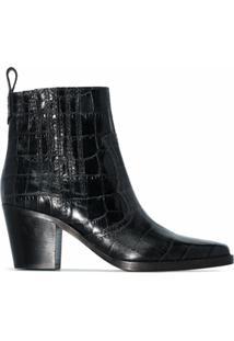 Ganni Ankle Boot Com Efeito Crocodilo - Preto