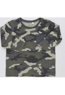 Camiseta Infantil Estampada Camuflada Com Bolso Manga Longa Gola Careca Verde Militar