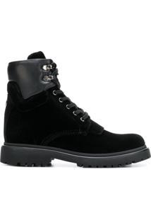 Moncler Ankle Boot De Couro E Veludo - Preto