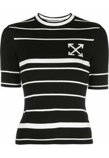 Off-White Blusa De Tricô Com Listras E Estampa De Flechas - Preto