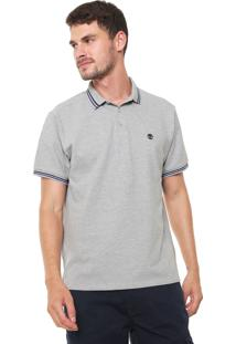 Camisa Polo Timberland Reta Rib Medium Grey Cinza