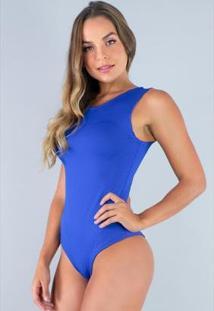 Body Camiseta Collant Cavado Suplex Estampado Feminino - Feminino-Azul