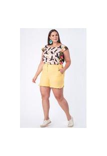 Shorts Almaria Plus Size Munny Babado Lateral Amarelo