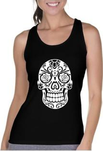 Camiseta Regata Criativa Urbana Cavada Caveira Mexicana Rosas - Feminino-Preto