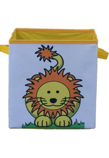 Caixa Organizadora De Brinquedos Organibox Leão Branca/Amarela