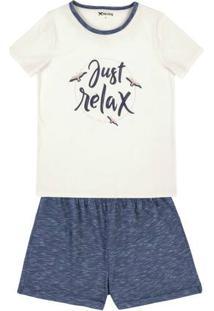 Pijama Em Algodão Com Camiseta Com Estampa Localizada
