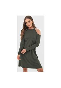 Vestido Fiveblu Curto Canelado Cut Out Verde