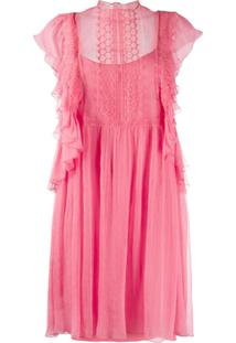 Alberta Ferretti Ruffle Sleeved Mini Shift Dress - Rosa