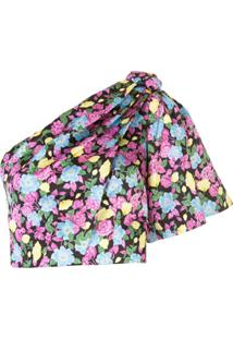 Amur Blusa Assimétrica Com Estampa Floral - Preto