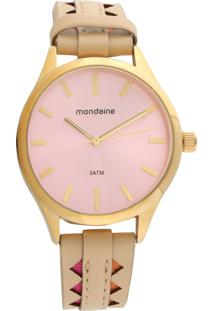 Relógio Mondaine 76670Lpmvdh1 Bege/Dourado