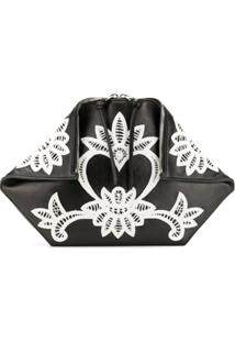Alexander Mcqueen Embroidered Clutch - Preto