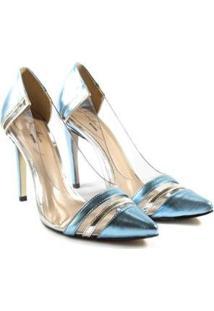 Scarpin Deodora Store Metalizado Bico Fino Feminina - Feminino-Azul