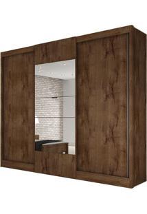 Guarda Roupa Make 3 Portas Com Espelho Canela